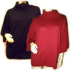 *SOLD* NEW NORDSTROM CASLON BLACK / RED MAROON BURGUNDY Womens Turtleneck TOP $1  sorry SOLD ... we sell more WOMENS TOPS and DRESSES and CLOTHES at http://www.TropicalFeel.com