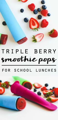 Triple Berry Smoothie Pops    For School Lunches! (simplyhappenstance.com)  #backtoschool #kidlunchideas #lunchideas #smoothies #smoothiepops