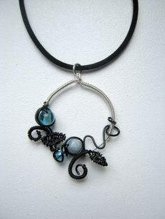 Necklace Black and Blue by Wiredesignjewelry on Etsy, $29.00