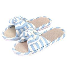 Sangreen Womens Open Toe Cute Bedroom House Slippers Blue S - Brought to you by Avarsha.com