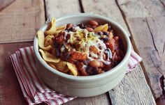 3 recipes for vegetarian chili (one has chipotle pepper with adobo sauce; another has pumpkin; another is black and white)