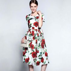 O Neck Short Sleeves Roses Printed Ruched Waist Elegant Runway Dress to choose right size please see the size chart