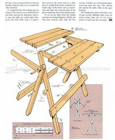 #288 Folding Table Plans - Outdoor Furniture Plans  This looks like the table Moe made me.  I use it all the time!