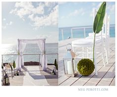 Modern beach wedding decor in green and white