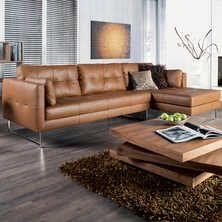 Paris leather right hand corner sofa tan