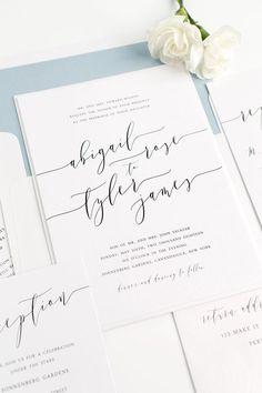 Dusty Blue Wedding Invitations with Romantic Modern Calligraphy | Simple Wedding Invitations | Elegant Wedding Invites