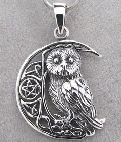 OWL & MOON Pendant 925 Sterling SILVER 34mm Drop NEW - Celtic - Pentagam