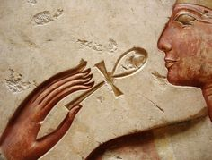 """""""Temple of Millions of Years"""" of King Ramses II at Abydos, detail from a relief (now in the Louvre Museum): King Ramses II receiving the 'Ankh' (Life) from the hand of the God Horus (not visible in..."""