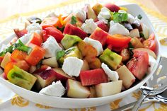 Peach and Heirloom Tomato Salad perfect for a hot summer day