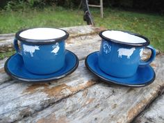 LOT DE 2 TASSES EXPRESSO EMAILLEES  ANIMAUX EMAIL VERITABLE FAB. EN FRANCE NEUF