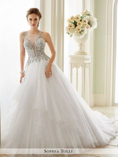 Sophia Tolli - Sleeveless misty tulle ball gown with slender illusion lace straps, high illusion jewel neckline, plunging V-neck hand-beaded lace appliqué bodice, illusion back features matching appli