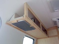 Airstreamforums.com Overhead cabinet frame w/o end cap for hood and control panel.