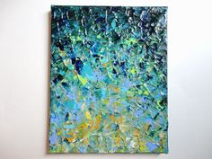 SALE - Original Acrylic Painting, Abstract Beauty Beneath FREE SHIPPING Impasto Turquoise Teal Lime Green Mustard Yellow Lilac 8 x 10. $75.00, via Etsy.