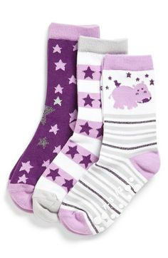 'Hippo Hooray' Crew Socks (3-Pack)  http://rstyle.me/n/dyhm6pdpe