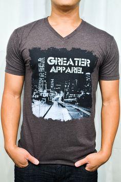 Men T-Shirt, V-Neck, urban apparel City lights.
