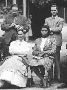 Frida & Diego with Marian Anderson and Ernesto de Quesada (Coyoacan, Mexico 1943)
