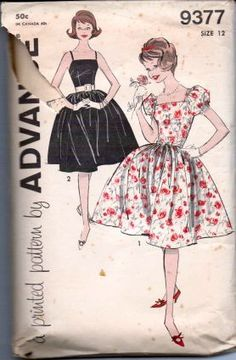 Advance 9377- Teen girls' vintage 1960's sewing pattern for a sleeveless dress with a full skirt.  Pattern is cut and complete.