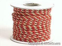 Petite Metallic Cord Red with Gold - 3mm