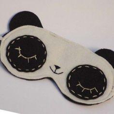 Items similar to Cute Sleeping Panda Eye Mask - Sleep better feel cute on Etsy Crafts To Do, Felt Crafts, Sleeping Panda, Sewing Crafts, Sewing Projects, Panda Eyes, Panda Party, Diy Accessoires, Ideias Diy
