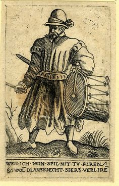 The drummer; WL figure in frontal view, playing his drums; from a series of twenty-two(?) etchings of soldiers. Etching