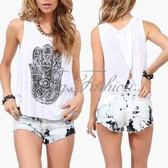 Sexy Womens Print Sleeveless Back Split Tank Loose Casual Tops Shirt Blouse Vest in Clothes, Shoes & Accessories, Women's Clothing, Tops & Shirts | eBay