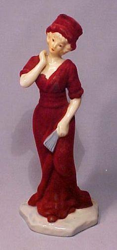 Old Porcelain Art Deco Burgundy Lady w Fan Figurine