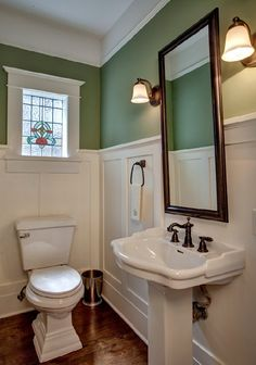 This bathroom, but with the white hexagon tiles on the floor. And whatever color you prefer on the walls although I think you probably like this green.