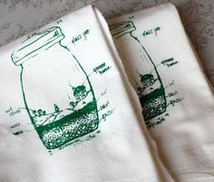 terrarium themed tea towels