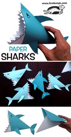 PAPER SHARKS You are in the right place about Paper Flowers papel Here we offer you the most beautiful pictures about the realistic Paper Flowers you are looking for. When you examine the PAPER SHARKS Ocean Crafts, Fish Crafts, Crafts To Do, Arts And Crafts, Summer Crafts For Kids, Art For Kids, Toddler Activity Board, Rainbow Paper, Art Activities For Kids
