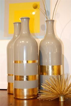 DIY Gold Leaf Vase With Repurposed Bottles