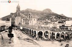 Mercadoycatedral de la ciudad de Zacatecas (c. 1874).