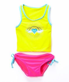 This Yellow & Pink Supergirl Tankini - Infant & Toddler by DC Comics is perfect! #zulilyfinds