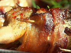 Hubby brought home quail. Im going to try this today. Paul's Bacon-Wrapped Grilled Quail with Bourbon-Pepper Jelly Glaze from FoodNetwork.com
