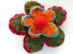 Felted wool flower from Nepal: happymangobeads.com