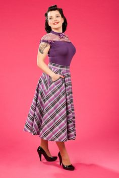 Calenda-Day - Tartan full circle skirt