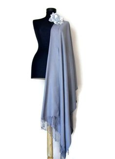 Gray Shawl Grey Wedding Shawl Beautiful Shade of Gray Luxury Pashmina Elegant Wrap Scarf Bridesmaid Gift Wedding Favor Flower Brooch (25.00 USD) by RosaShawls