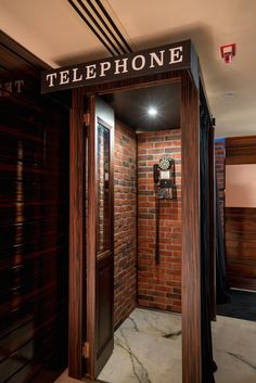 PDT HK would not have been complete without the phone booth at the entrance and… Restaurant Interior Design, Interior Design Living Room, Speakeasy Bar, Hidden Rooms, Entry Foyer, Decoration, Lighting Design, Entrance, House Design