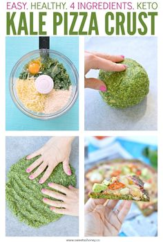 Kale Pizza Crust Healthy low carb crust made with 4 simple ingredients. Simple a… Kale Pizza Crust Healthy low carb crust made with 4 simple ingredients. Simple and kids friendly. Veggie Pizza Recipe Easy, Healthy Tuna Recipes, Vegetable Dishes, Vegetable Recipes, Kale Pizza, Vegan Cauliflower Pizza Crust, Zucchini Pizza Crust, Chou Kale, Kid Friendly Dinner
