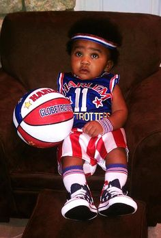 Need a costume idea?  Check out this baby Harlem Globetrotter Halloween costume.