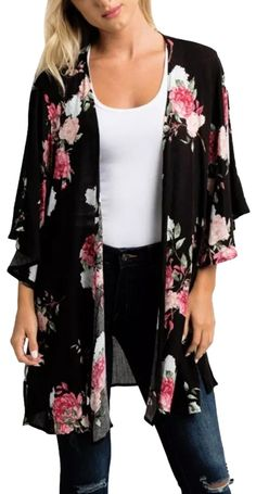 Black Floral Women's Chiffon Shawl Print Kimono Large Loose Beach Cover Up Cardigan Size 8 (M) Black Kimono Outfit, Floral Kimono Outfit, Floral Cardigan, Kimono Cardigan, Chiffon Shawl, Chiffon Kimono, Sheer Chiffon, Loose Tops, Beach Cove