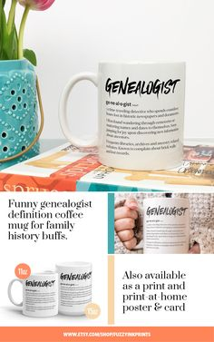 Genealogist definition funny coffee mug for family history buffs. Genealogy gifts for him or gifts for her. Family reunion or christmas gift