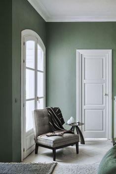 January Moodboard : Sage Green - Living room green - Home Sage Green Paint, Sage Green Bedroom, Sage Green Walls, Green Wall Color, Living Room Green, Green Rooms, Living Room Decor, Bedroom Decor, Gray Green