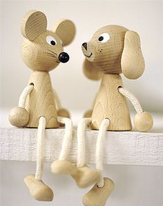 Wooden mice and dogs..cute