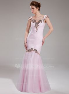 Prom Dresses - $156.29 - Mermaid Sweetheart Floor-Length Tulle Charmeuse Prom Dress With Ruffle Lace Beading (018019067) http://jjshouse.com/Mermaid-Sweetheart-Floor-Length-Tulle-Charmeuse-Prom-Dress-With-Ruffle-Lace-Beading-018019067-g19067