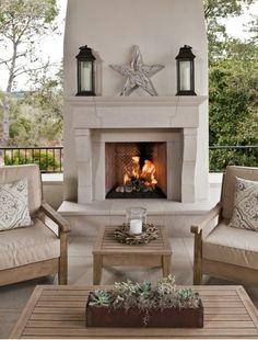 Beautiful outdoor fireplace