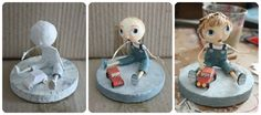 The evolution of sculpture. Step by step Paper Mache Clay, Paper Mache Sculpture, Paper Mache Crafts, Clay Figures, Paperclay, Paper Artist, Clay Dolls, Fairy Dolls, Diy Paper