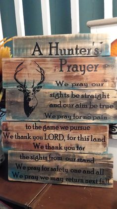 Hunter's Prayer Pallet wood wall art by BoxedCreativity on Etsy