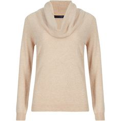 M&S Collection Pure Cashmere Cowl Neck Jumper (160 CAD) ❤ liked on Polyvore featuring tops, sweaters, beige, beige sweater, pink sweater, long sleeve jumper, long sleeve cowl neck top and long sleeve tops
