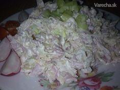 Výborný šalát z kyslej kapusty Cabbage Salad, Ham, Salad Recipes, Potato Salad, Food And Drink, Rice, Vegetables, Cooking, Ethnic Recipes