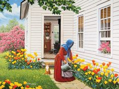 Love all the tulips on the side of the house. It's a must have.
